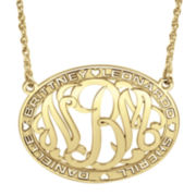 Personalized 14K Gold Over Sterling Silver Family Name and Monogram Necklace