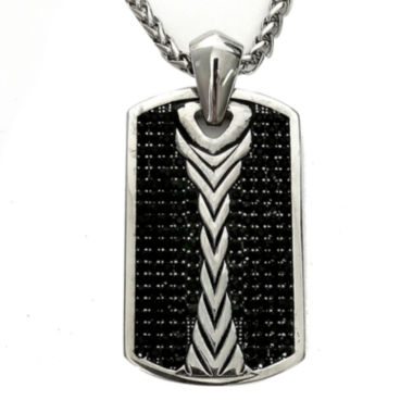 jcpenney.com | Men's Black Cubic Zirconia Stainless Steel Dog Tag Pendant Necklace