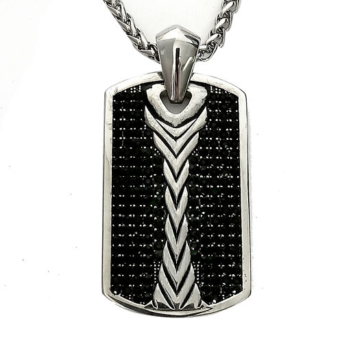 Men's Black Cubic Zirconia Stainless Steel Dog Tag Pendant Necklace