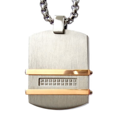 jcpenney.com | Men's 1/10 CT. T.W. Diamond Two Tone Stainless Steel Dog Tag Pendant Necklace