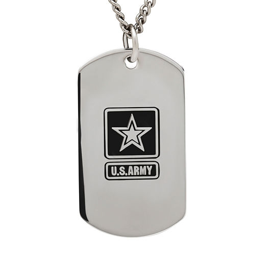 Army Sterling Silver Dog Tag Pendant Necklace