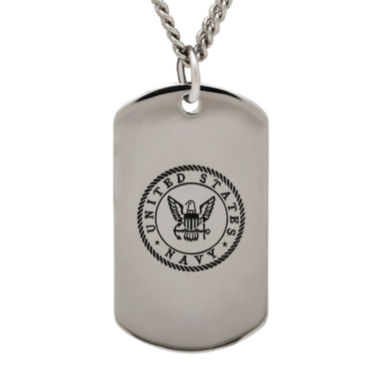 jcpenney.com | Navy Sterling Silver Dog Tag Pendant Necklace