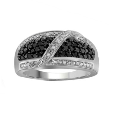 jcpenney.com | 1/2 CT. T.W. White & Color-Enhanced Black Diamond Sterling Silver Ring