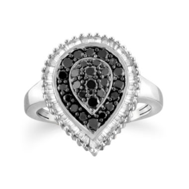 jcpenney.com | 1 CT. T.W. White and Color-Enhanced Black Diamond Sterling Silver Ring