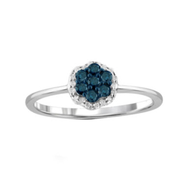jcpenney.com | 1/4 CT. T.W. White & Color-Enhanced Blue Diamond Cluster Sterling Silver Ring