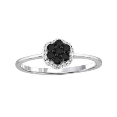 jcpenney.com | 1/4 CT. T.W. White & Color-Enhanced Black Diamond Cluster Sterling Silver Ring
