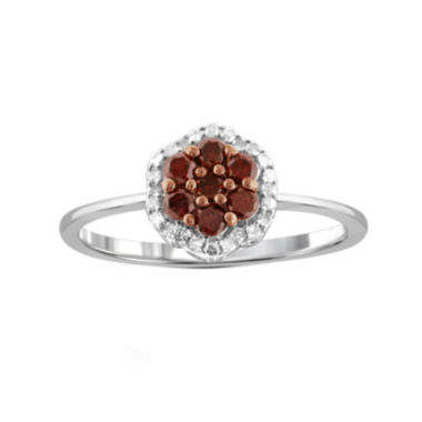 jcpenney.com | 1/2 CT. T.W. White & Color-Enhanced Red Diamond Cluster Sterling Silver Ring