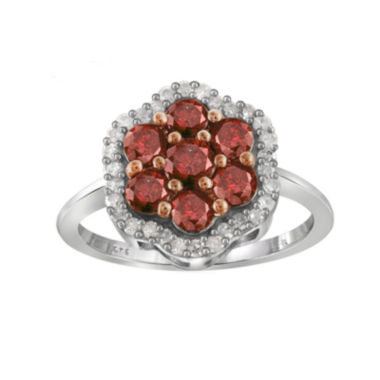 jcpenney.com | 1 CT. T.W. White & Color-Enhanced Red Diamond Cluster Sterling Silver Ring