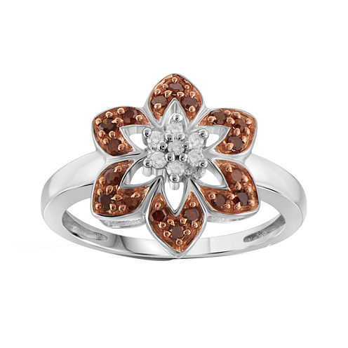 1/4 CT. T.W. White & Color-Enhanced Red Diamond Sterling Silver Flower Ring
