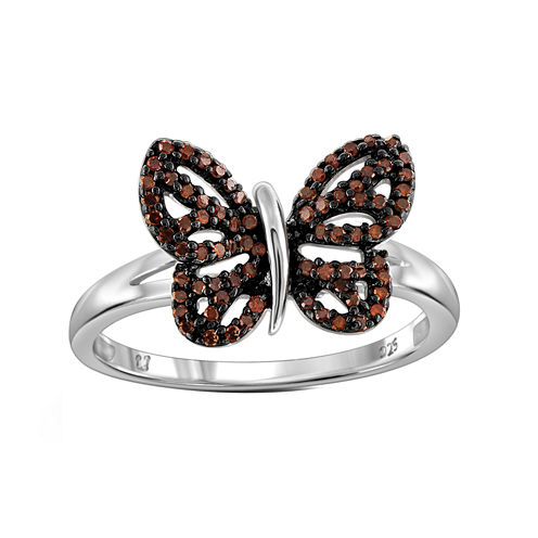 1/4 CT. T.W. Color-Enhanced Red Diamond Sterling Silver Butterfly Ring