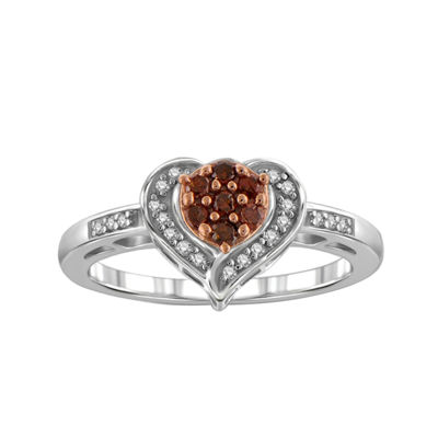 Fine Jewelry 1/10 CT. T.W. Color-Enhanced Red Diamond Sterling Silver Ring vdaJJOK879
