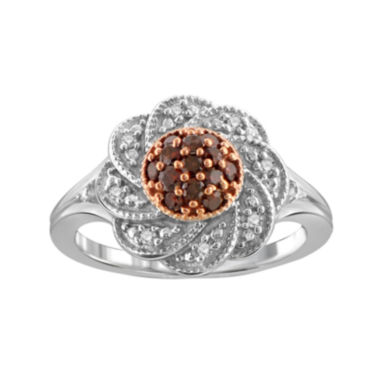 jcpenney.com | 1/3 CT. T.W. White & Color-Enhanced Red Diamond Sterling Silver Ring