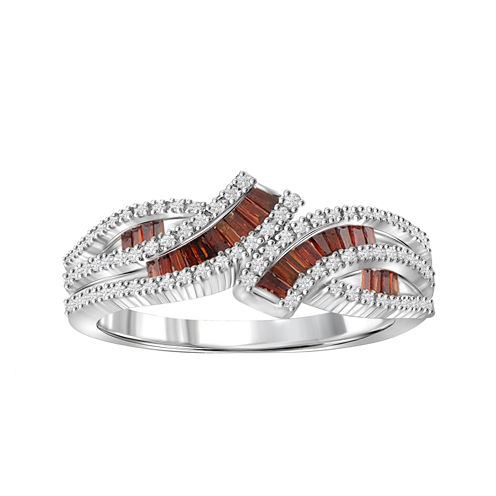 1/2 CT. T.W. White & Color-Enhanced Red Diamonds Sterling Silver Ring