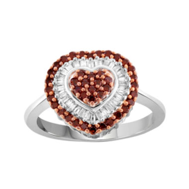 jcpenney.com | 1/2 CT. T.W. White & Color-Enhanced Red Diamonds Sterling Silver Heart Ring