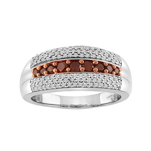3/4 CT. T.W. White & Color-Enhanced Red Diamond Sterling Silver Ring