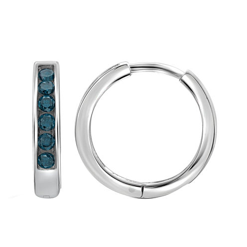 1/4 CT. T.W. Color-Enhanced Blue Diamond Sterling Silver Hoop Earrings