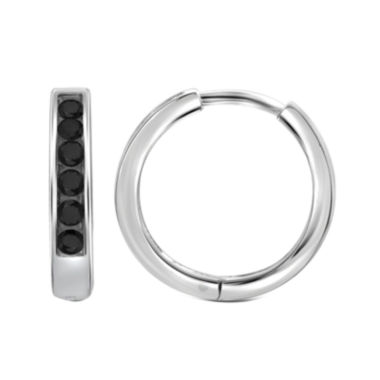 jcpenney.com | 1/4 CT. T.W. Color-Enhanced Black Diamond Sterling Silver Hoop Earrings