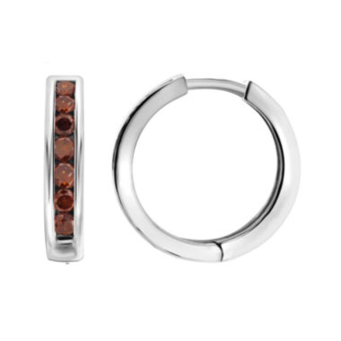 jcpenney.com | 1 CT. T.W. Color-Enhanced Red Diamond Sterling Silver Hoop Earrings