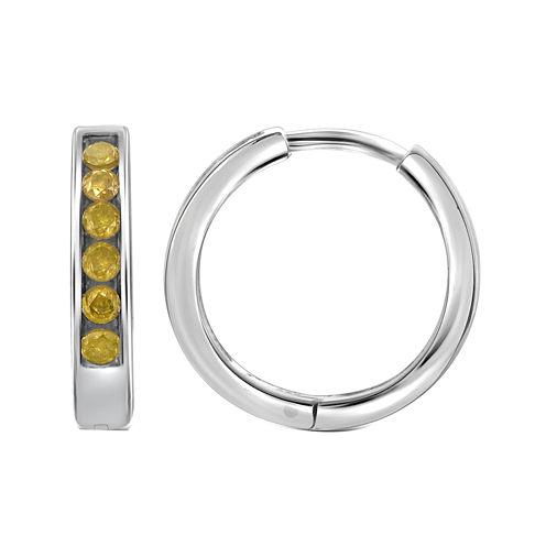 1/4 CT. T.W. Color-Enhanced Yellow Diamond Sterling Silver Hoop Earrings