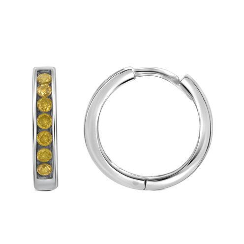 1/2 CT. T.W. Color-Enhanced Yellow Diamond Sterling Silver Hoop Earrings