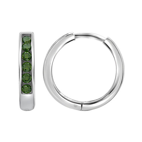 1/4 CT. T.W. Color-Enhanced Green Diamond Sterling Silver Hoop Earrings