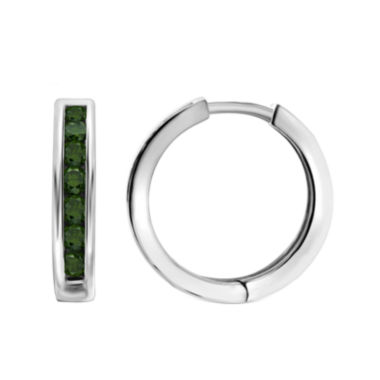 jcpenney.com | 1 CT. T.W. Color-Enhanced Green Diamond Sterling Silver Hoop Earrings
