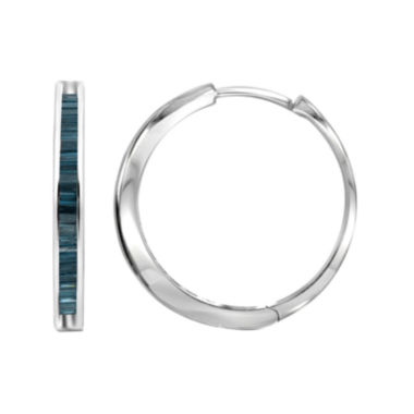 jcpenney.com | Sterling Silver Genuine Blue Diamond Hoop Earrings