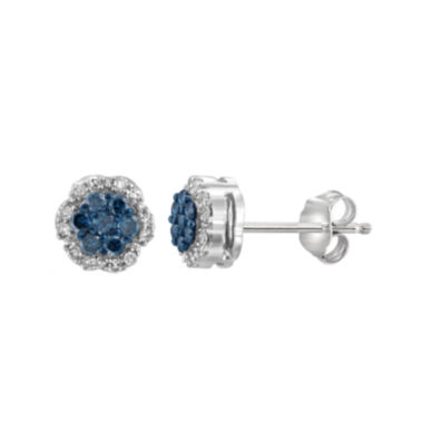 jcpenney.com | 1/4 CT. T.W. White & Color-Enhanced Blue Diamond Cluster Sterling Silver Earrings