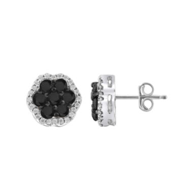 jcpenney.com | 1 CT. T.W. White & Color-Enhanced Black Diamond Cluster Sterling Silver Earrings
