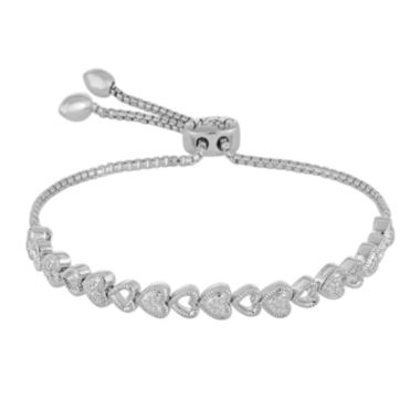 jcpenney.com | Rhythm and Muse 1/10 CT. T.W. Diamond Sterling Silver Heart Bracelet