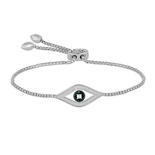 1/10 CT. T.W. White & Color-Enhanced Blue Diamond Sterling Silver Bolo Bracelet