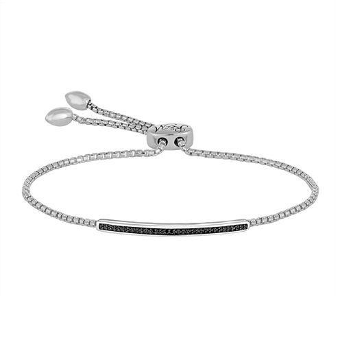 1/10 CT. T.W. Color-Enhanced Black Diamond Sterling Silver Bolo Bracelet