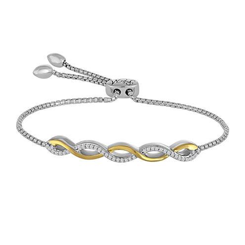 1/10 CT. T.W. Diamond 14K Yellow Gold Over Silver Bolo Bracelet