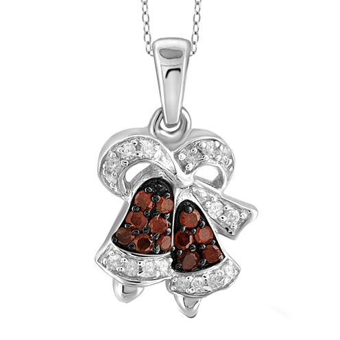 1/10 CT. T.W. White & Color-Enhanced Red Diamond Sterling Silver Pendant