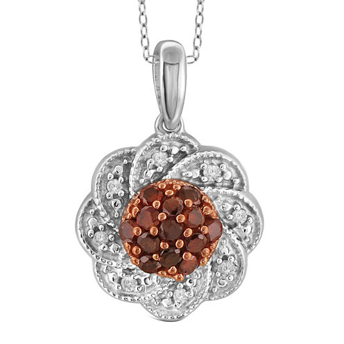 1/3 CT. T.W. White & Color-Enhanced Red Diamond Sterling Silver Pendant