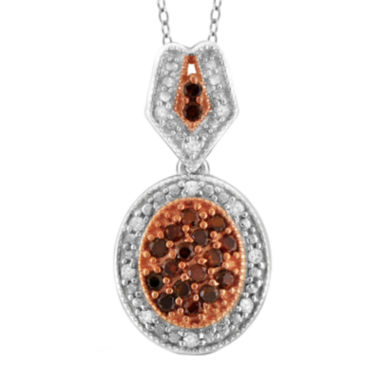 jcpenney.com | 1/3 CT. T.W. White & Color-Enhanced Red Diamond Sterling Silver Pendant