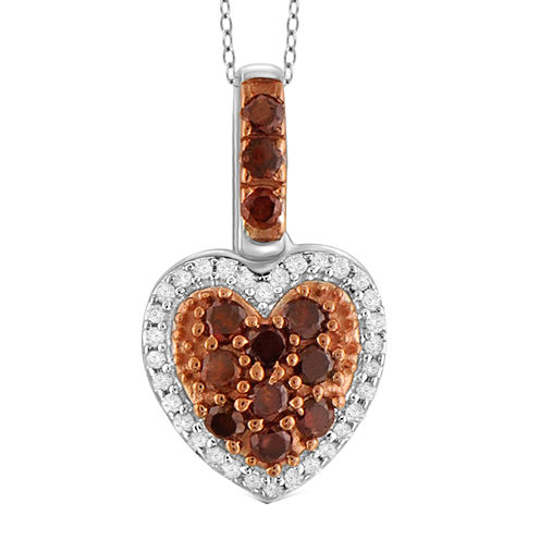1/2 CT. T.W. White & Color-Enhanced Red Diamonds Sterling Silver Heart Pendant