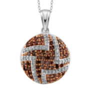 1/2 CT. T.W. White & Color-Enhanced Red Diamond Sterling Silver Pendant