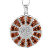 1 CT. T.W. White & Color-Enhanced Red Diamond Sterling Silver Ring Pendant