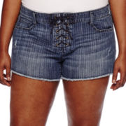 Arizona Striped Raw-Cuff Lace-Up Shorts - Juniors Plus