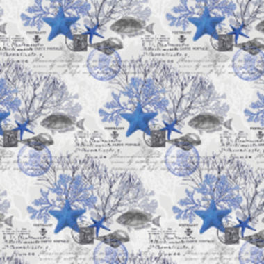 jcpenney.com | FabScraps Beach Affair Blue Fish 10 Yards Fabric