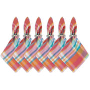 Design Imports Set of 6 Malibu Madras Plaid Cotton Napkins