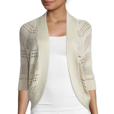 jcpenney.com | Liz Claiborne® 3/4 sleeves Crochet Cardigan Sweater