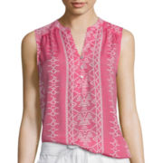 St. John's Bay® Sleeveless Printed Top