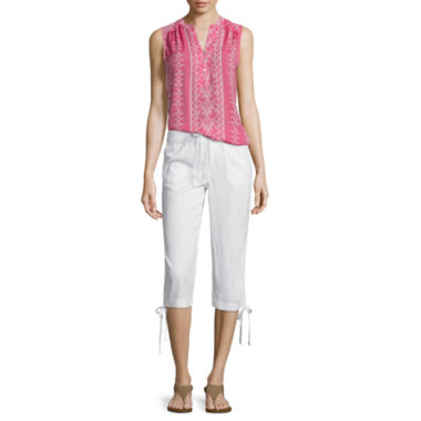 jcpenney.com | St. John's Bay® Sleeveless Printed Top or Linen Cargo Cropped Pants