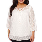 Alyx® 3/4-Sleeve Diamond Lace-Up Blouse - Plus
