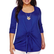 Elbow-Sleeve Tie-Front Necklace Top - Plus