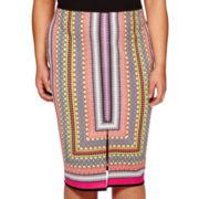 Bisou Bisou® Slit-Front Scuba Skirt - Plus