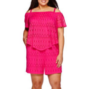 Bisou Bisou® Short-Sleeve Crochet Romper - Plus