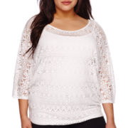 Bisou® 3/4-Sleeve Crochet Dolman Top - Plus